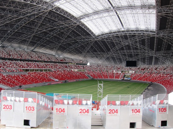 The spectacular stadium's seats are in red and white, Singapore's national colours.