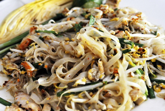 A classic pad Thai, (Thais style fried rice noodles)