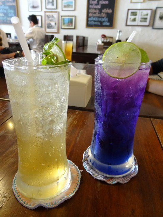 Almost too pretty to drink: apple-lime soda and butterfly pea juice.
