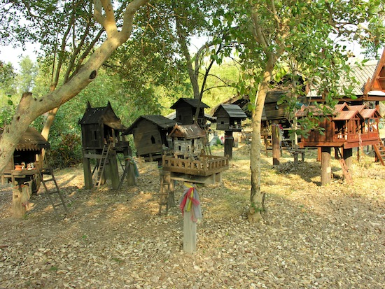 A variety of spirit houses in the