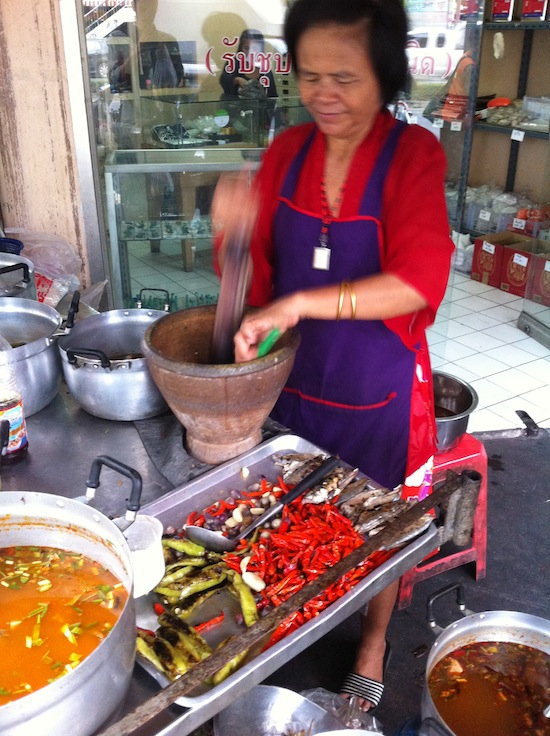 My favourite nam prik bla tuu vendor, at Charoen Nakhon Soi 20 in Thonburi.