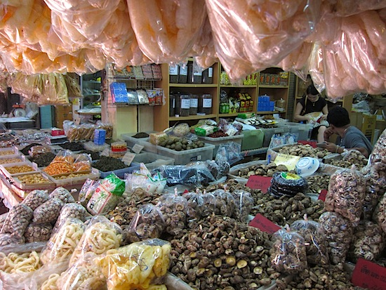 A bed of shiitake under a ceiling of fish maw.