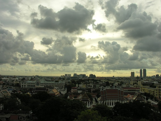 Big clouds over Banglamphu, as seen from Wat Saket.