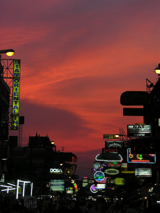 Red sky over Khao San, taken back in 2009.