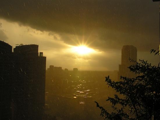 Again looking southwest towards the 'burbs -- sun showers.