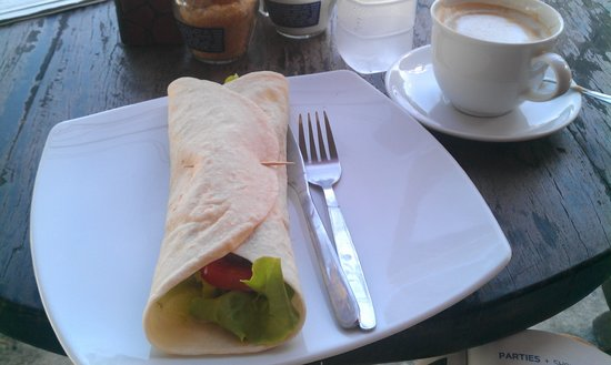 falafel wrap and coffee