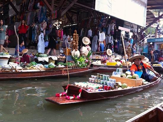 Floating souvenirs and beer at Damnoen Saduak.