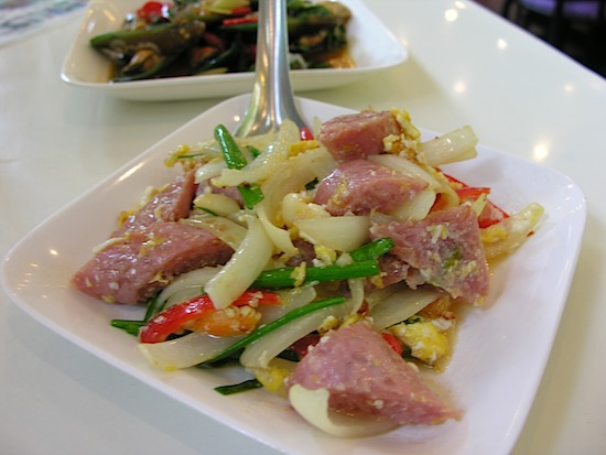 Scrambled eggs and sausage -- central Thai style.