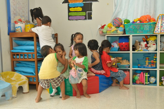 Playtime. The village provides safe shelter to about 100 children