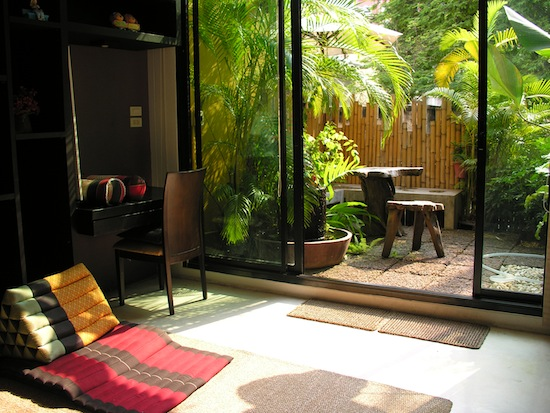 This relaxing common space is a bright spot.