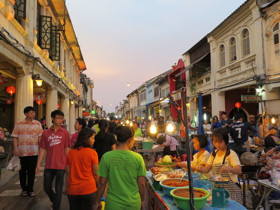 Thalang Road is transformed into a lively walking street.