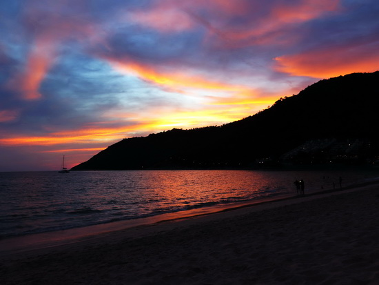 Nai Harn sunset. Soft landing at the end of a day's drive.