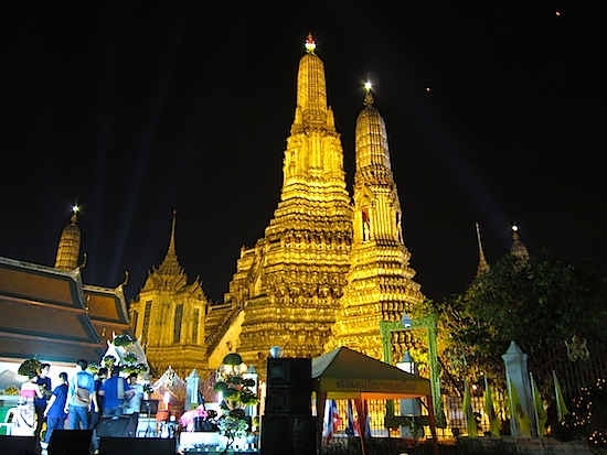 Bangkok's Wat Arun, lit up for Loy Krathong.