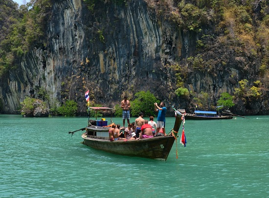 A longtail boat tour in the lagoon.