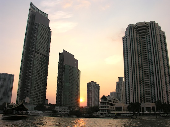 Completed in 2012, The River South Tower (left) dwarfs The Peninsula (right).