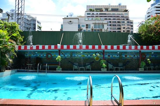 The unusually deep pool is very well kept.
