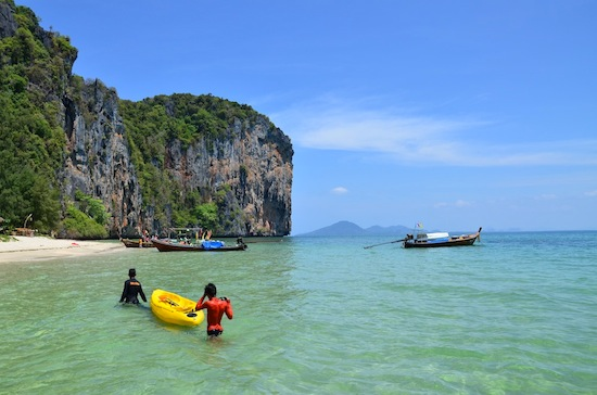 It takes less than an hour to encircle Lao Liang Nong in a kayak.