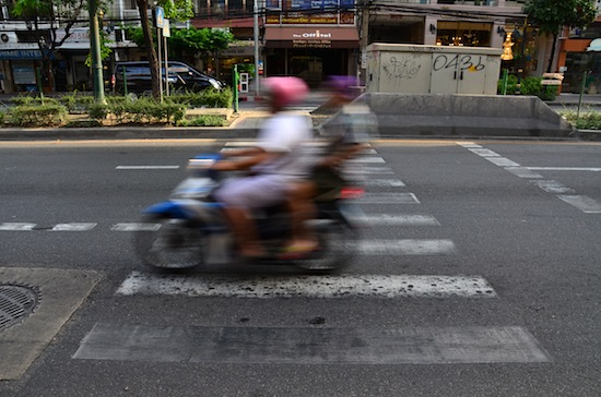 This motorbike seemed to interpret this zebra crossing as a sign to speed up.