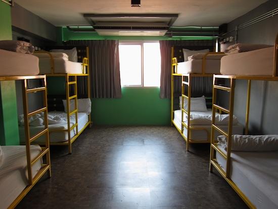 Plenty of breathing room in an eight-bed dorm.