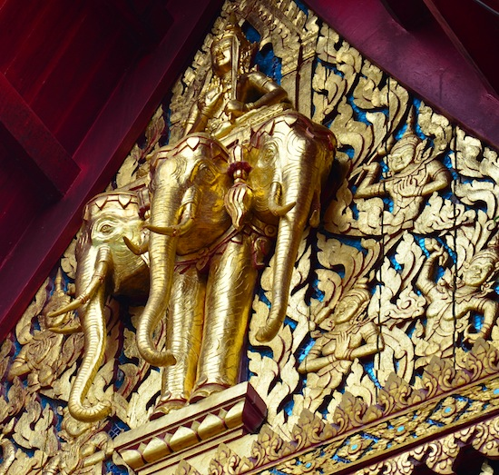 Exquisite depiction of Erawan carrying Indra at Wat Wang.