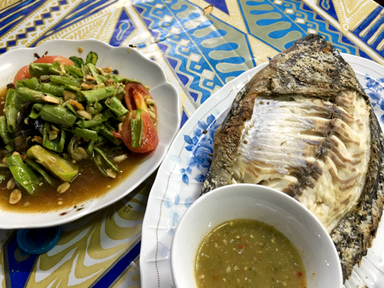 Barbecued fish and Isaan food in Samet Village.