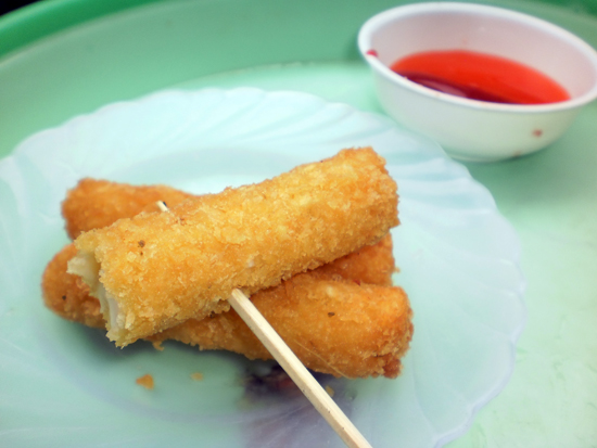 It's difficult to take an enticing photo of a couple of cheese sticks.