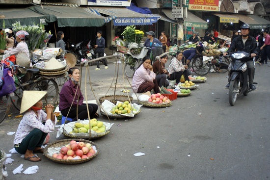 Fruit sellers are confined to the streets.