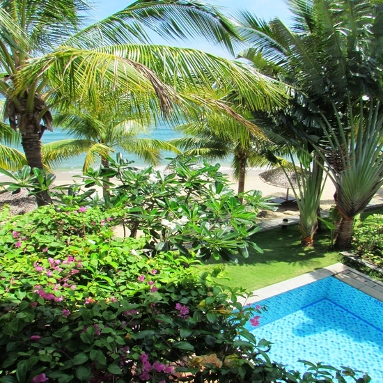 Private pool and beach views from villa 103.