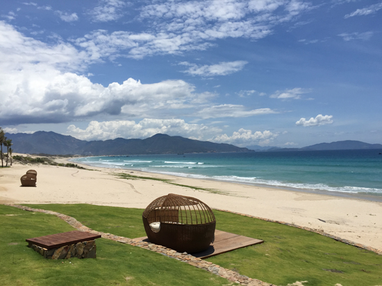 View of empty beach north of Fusion Resort Nha Trang, northern Cam Ranh Peninsula. The resort is opening October 2015.